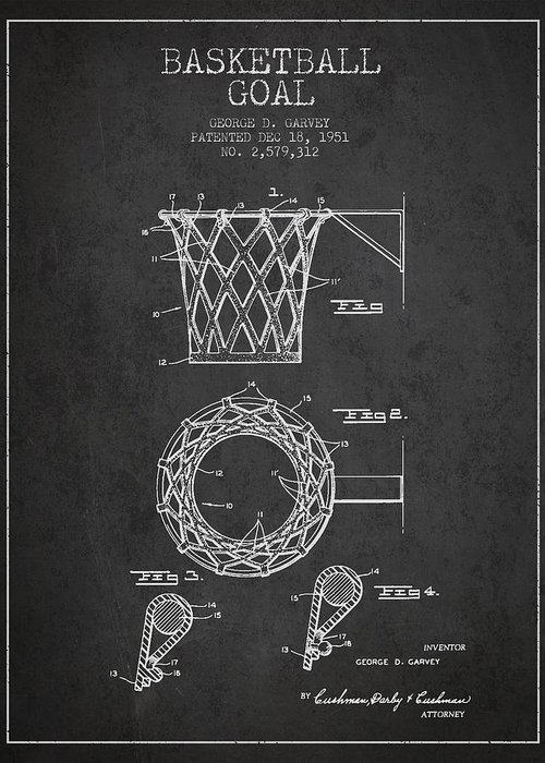Hoop Patent Greeting Card featuring the digital art Vintage Basketball Goal Patent From 1951 by Aged Pixel