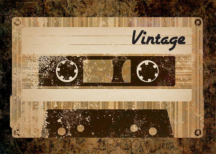 Vintage Greeting Card featuring the digital art Vintage Cassette by Sara Ponte
