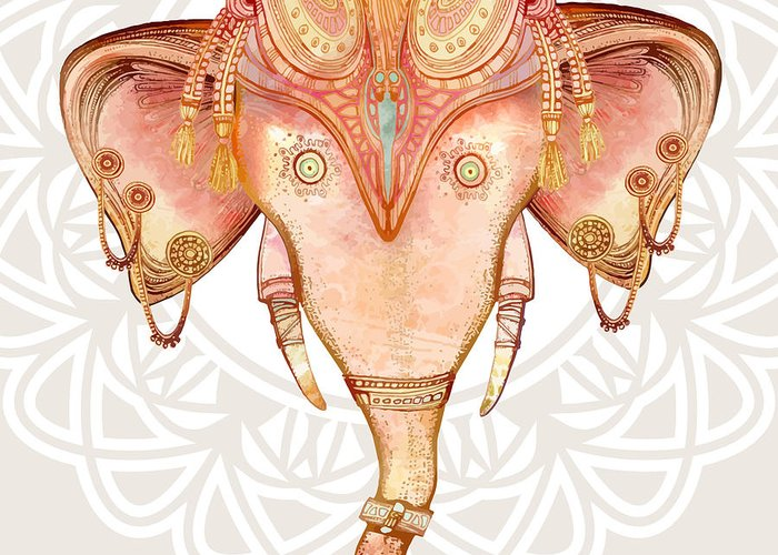 Symbol Greeting Card featuring the digital art Vintage Elephant Illustration.hand Draw by Polina Lina