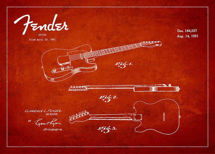 Fender Greeting Card featuring the drawing Vintage Fender Guitar Patent Drawing From 1951 by Aged Pixel