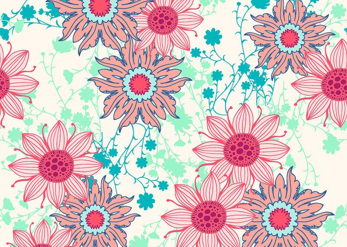 Flora Greeting Card featuring the digital art Vintage Flower Pattern Print For by Studio K