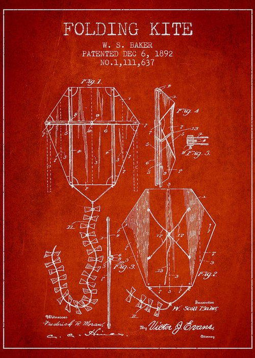 Kite Greeting Card featuring the drawing Vintage Folding Kite Patent From 1892 by Aged Pixel