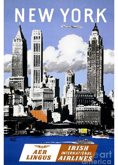 New York Greeting Card featuring the drawing Vintage New York Travel Poster by Jon Neidert