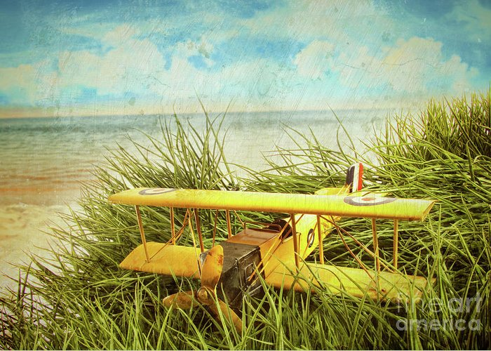 Aircraft Greeting Card featuring the photograph Vintage Toy Plane In Tall Grass At The Beach by Sandra Cunningham