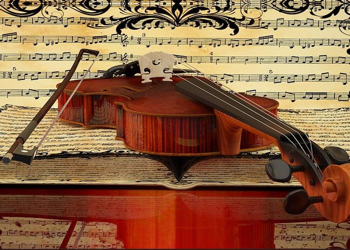 Violin Picture Greeting Card featuring the digital art Violin by Louis Ferreira