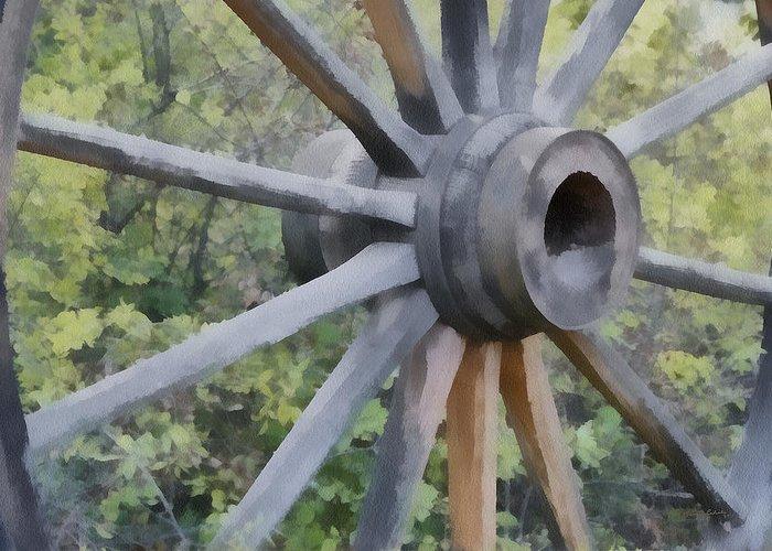 Spokes Greeting Card featuring the digital art Wagon Wheel by Ernie Echols