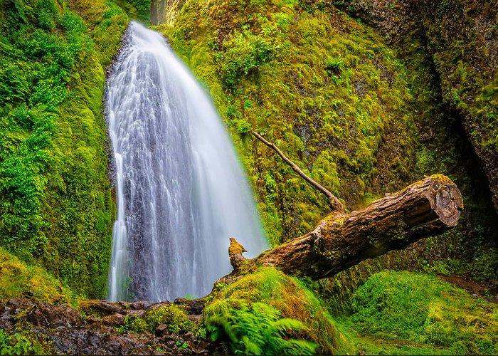 Wahkeena Falls Greeting Card featuring the photograph Wahkeena Falls Oregon by Lee Cuellar