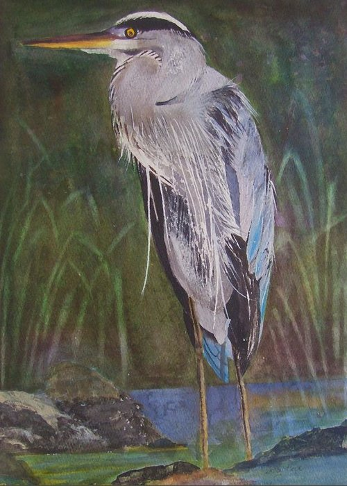 Heron Greeting Card featuring the painting Waiting For Lunch by Wendy Hope