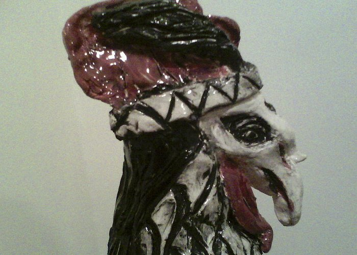 Ceramic Rooster Greeting Card featuring the sculpture Warrior Rooster by Suzanne Berthier
