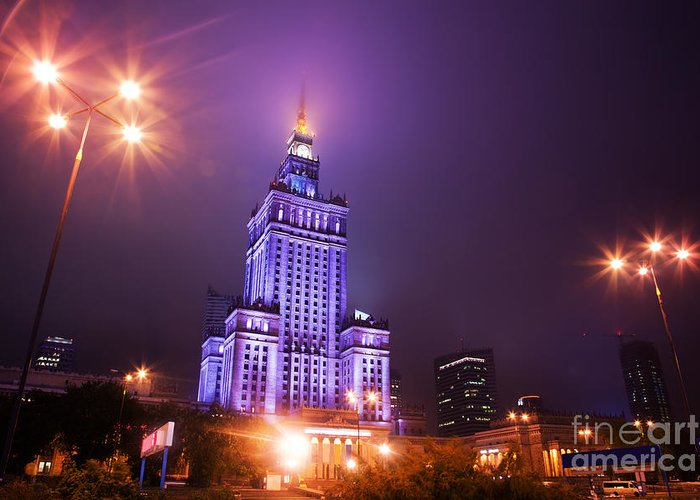 Warsaw Greeting Card featuring the photograph Warsaw Poland Downtown Skyline At Night by Michal Bednarek