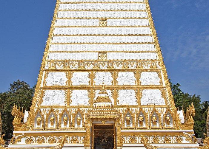 Scenic Greeting Card featuring the photograph Wat Nong Bua Main Stupa Base Dthu453 by Gerry Gantt