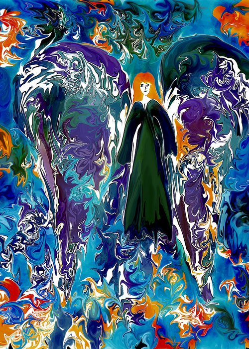 Angel Greeting Card featuring the digital art Water Angel by Paula Majeski