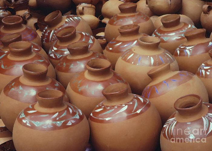 Pottery Greeting Card featuring the photograph Water Pots by Sue Sill