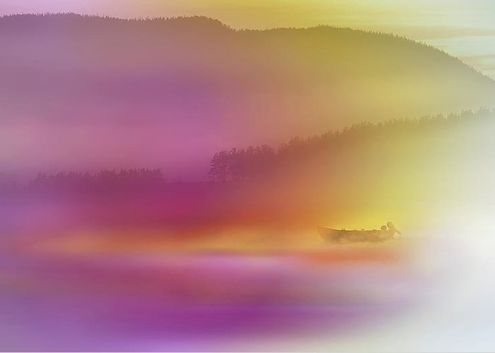 Abstract Greeting Card featuring the photograph Watercolor Seascape by Heidi Westum