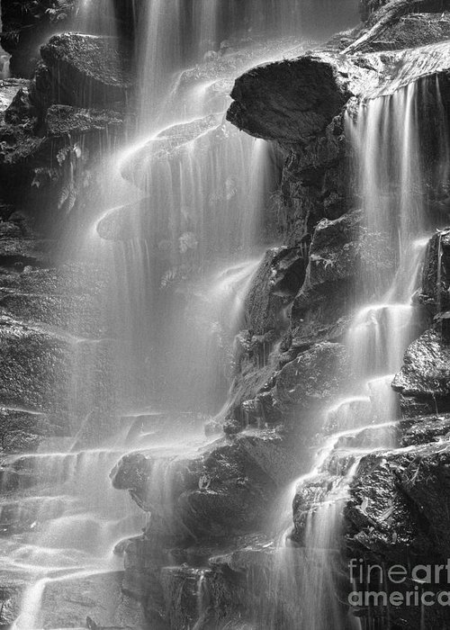 Black & White Greeting Card featuring the photograph Waterfall 05 by Colin and Linda McKie