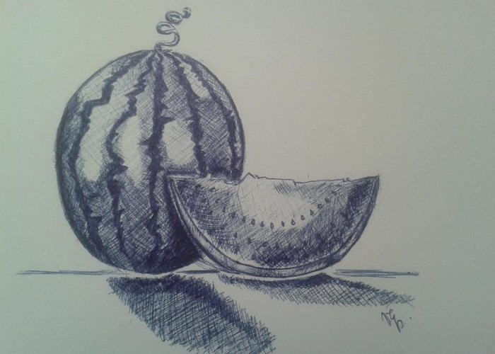 Watermelon Greeting Card featuring the drawing Watermelon by Emese Varga