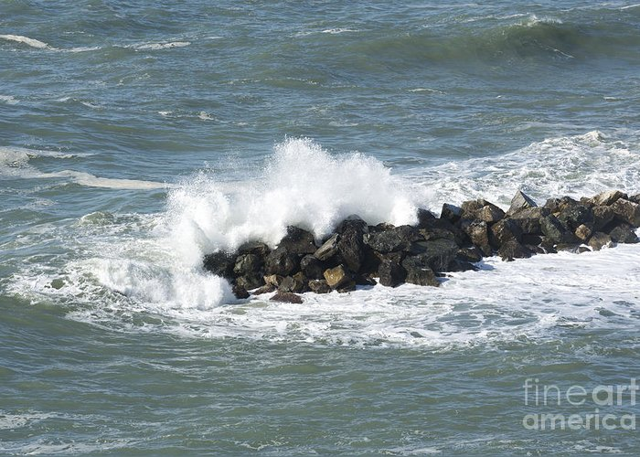 Wave Greeting Card featuring the photograph Wave On The Rocks by Mats Silvan