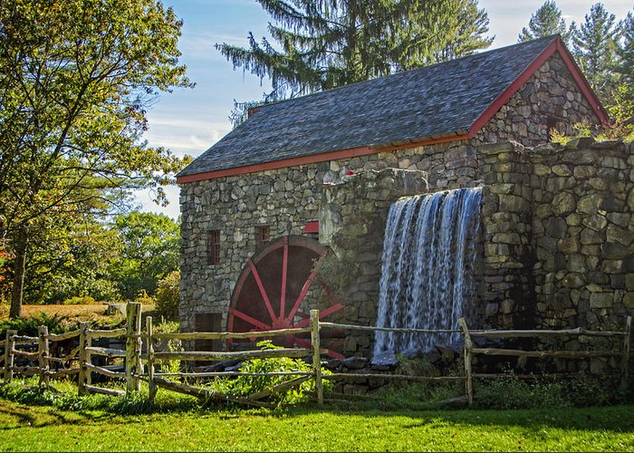 Grist Mill Greeting Card featuring the photograph Wayside Inn Grist Mill by Donna Doherty