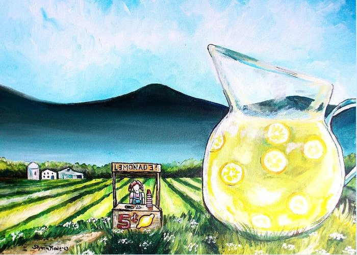 Lemon Greeting Card featuring the painting When Life Gives You Lemons by Shana Rowe Jackson
