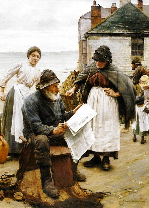 On The Quay Newlyn Greeting Card featuring the digital art When The Boats Are Away by Walter Langley