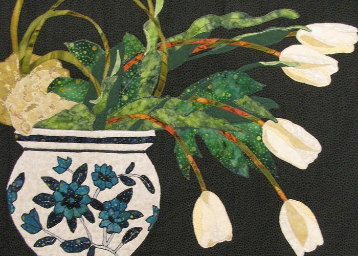 Art Quilts Tapestries - Textiles Greeting Card featuring the tapestry - textile White Tulips by Lynda K Boardman