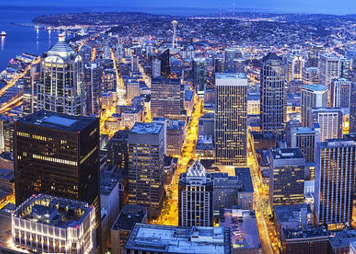 Seattle Greeting Card featuring the photograph Wide Seattle Cityscape by Mike Reid