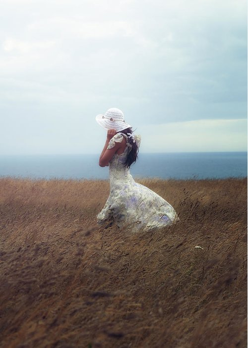 Girl Greeting Card featuring the photograph Windy Day by Joana Kruse