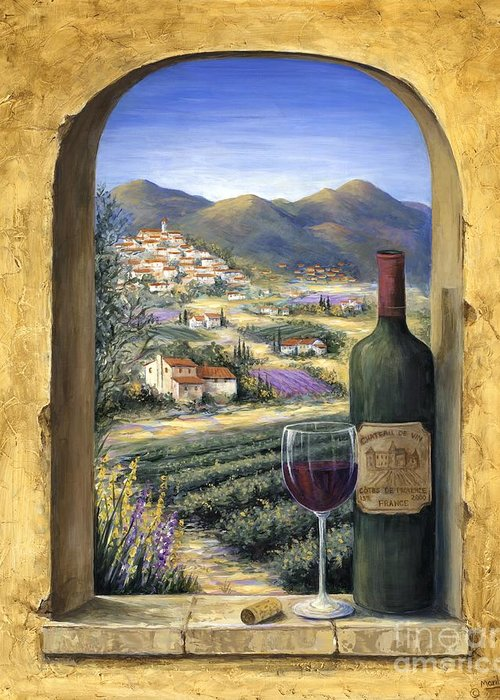 Wine Greeting Card featuring the painting Wine And Lavender by Marilyn Dunlap