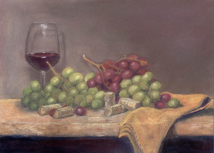Wine Greeting Card featuring the painting Wine Tasting by Ellen Minter