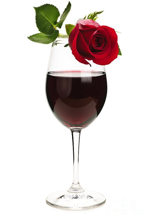 Wine Greeting Card featuring the photograph Wine With Red Rose by Elena Elisseeva