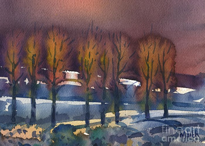 Landscape Greeting Card featuring the painting Winter Fantasy by Donald Maier