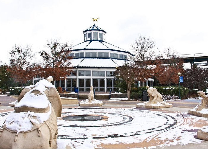 Coolidge Park Greeting Card featuring the photograph Winter In Coolidge Park by Tom and Pat Cory