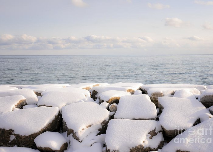 Boulders Greeting Card featuring the photograph Winter Shore Of Lake Ontario by Elena Elisseeva