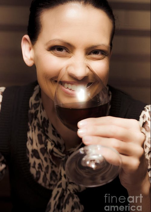 Women Sniffing Wine Greeting Cards