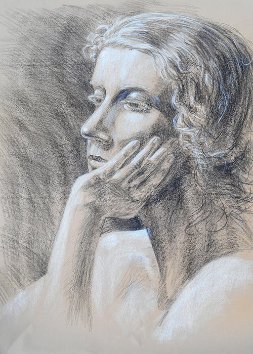 Woman Greeting Card featuring the drawing Woman Head Study by Irina Sztukowski