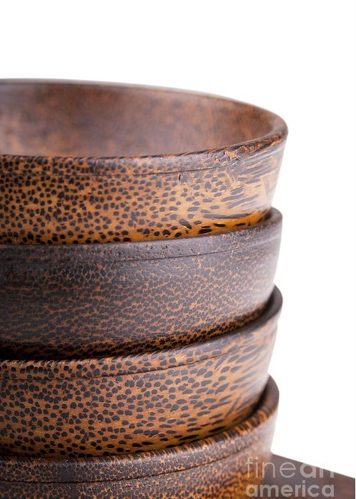 Bowl Greeting Card featuring the photograph Wooden Bowls Isolated by Tim Hester