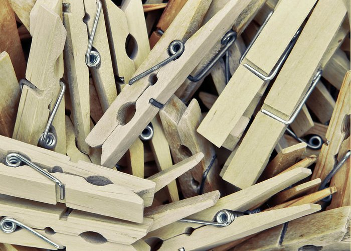 Attach Greeting Card featuring the photograph Wooden Clothes Pegs by Tom Gowanlock