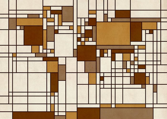Cartography Greeting Card featuring the digital art World Map Abstract Mondrian Style by Michael Tompsett
