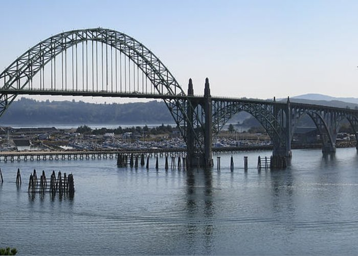 Bridge Greeting Card featuring the photograph Yaquina Bay Bridge - Newport Oregon by Daniel Hagerman