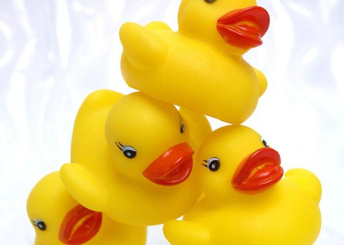 Duck Chick Greeting Card featuring the photograph Yelow Ducks by Bernard Jaubert