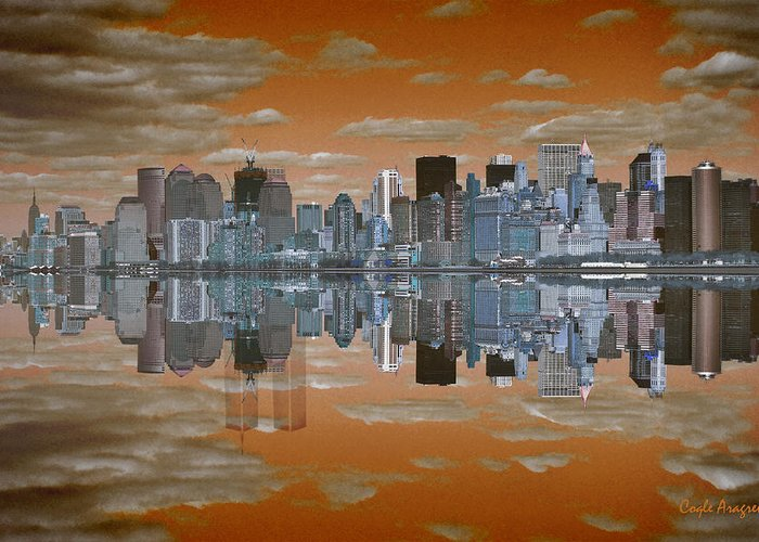 Manhattan Greeting Card featuring the digital art Yesterday Reflexions by Coqle Aragrev