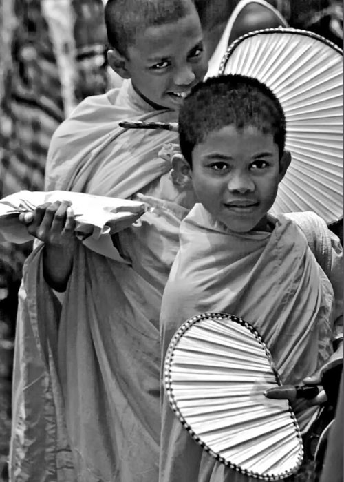 Buddhism Greeting Card featuring the photograph Young Monks Bw by Steve Harrington