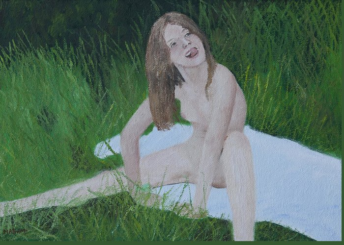 Nude Greeting Card featuring the painting Young Naturist by Masami Iida