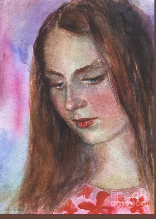 Girl 3 Greeting Card featuring the painting Young Woman Watercolor Portrait Painting by Svetlana Novikova