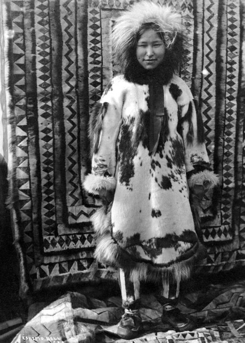 20th Century Greeting Card featuring the photograph Alaska Eskimo Woman by Granger