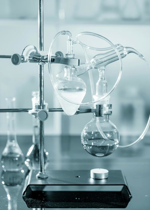 Analysis Greeting Card featuring the photograph Chemistry Experiment In Lab by Wladimir Bulgar