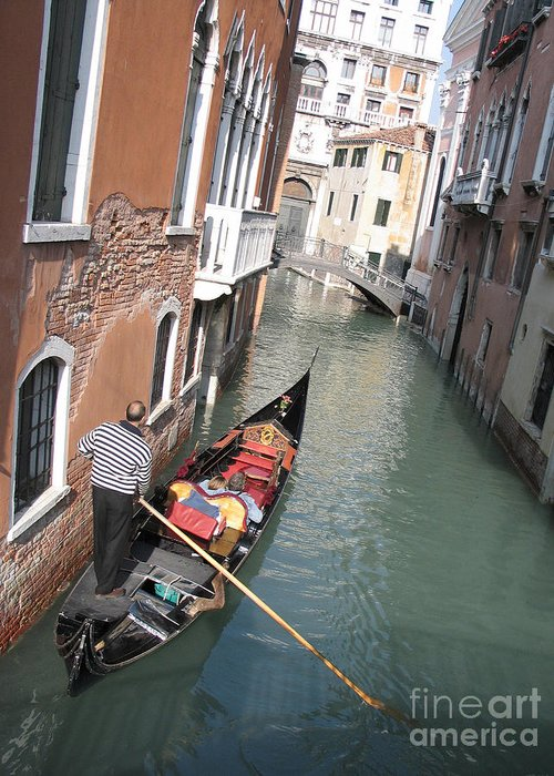 Canal Greeting Card featuring the photograph Gondola. Venice by Bernard Jaubert