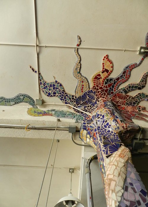 Mosaic Pillar Greeting Card featuring the ceramic art Mosaic Pillar by Charles Lucas