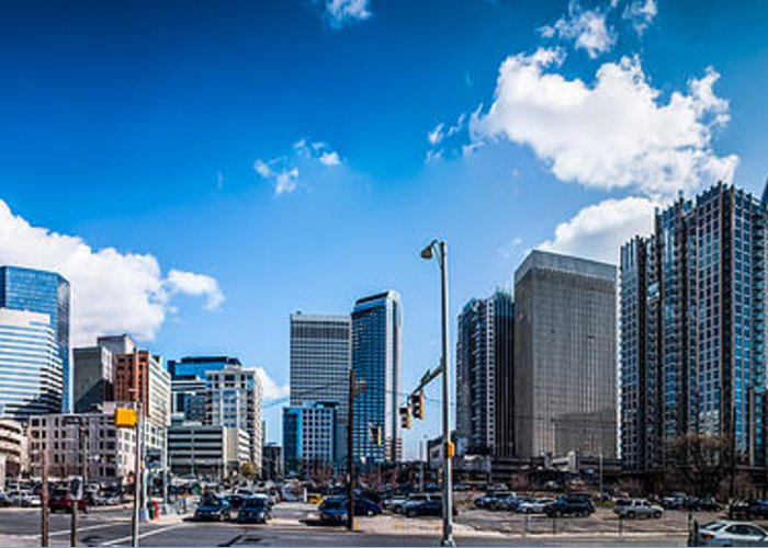 District Greeting Card featuring the photograph Skyline Of Uptown Charlotte North Carolina by Alex Grichenko
