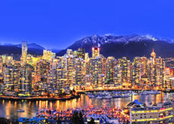 Vancouver Skyline Panorama Greeting Card featuring the photograph Vancouver Skyline Panorama by Wesley Allen Shaw